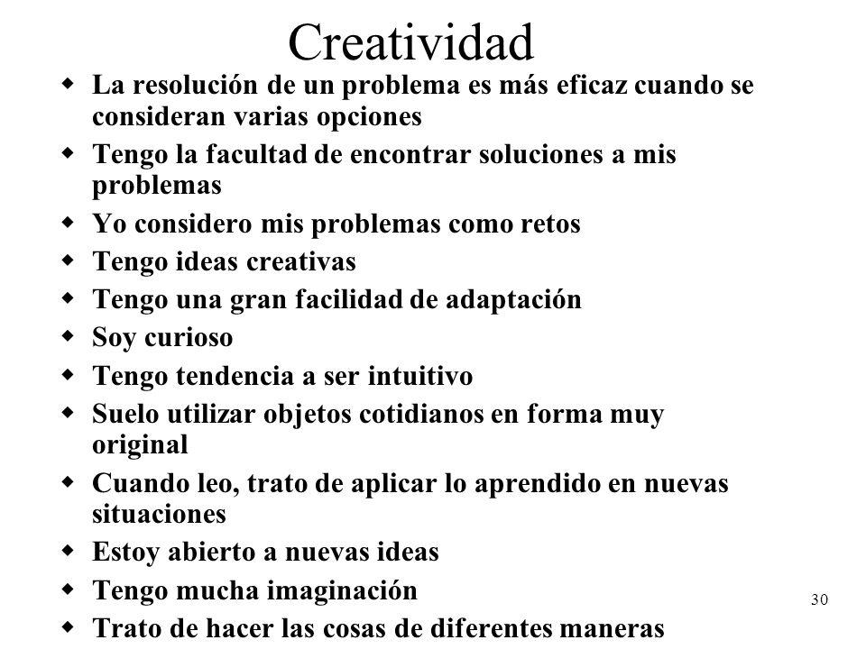 30 Creatividad La resolución de un problema es más eficaz cuando se consideran varias opciones Tengo la facultad de encontrar soluciones a mis problem