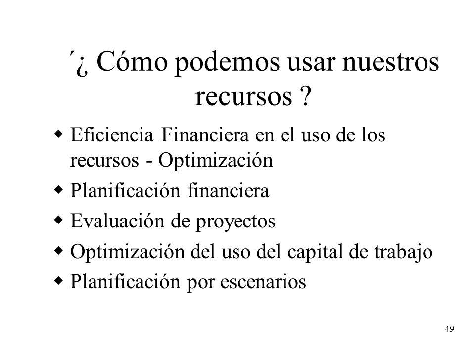 49 ´¿ Cómo podemos usar nuestros recursos ? Eficiencia Financiera en el uso de los recursos - Optimización Planificación financiera Evaluación de proy