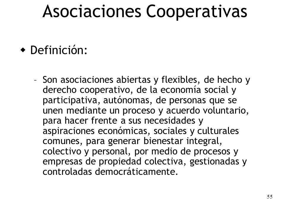 55 Asociaciones Cooperativas Definición: – Son asociaciones abiertas y flexibles, de hecho y derecho cooperativo, de la economía social y participativ