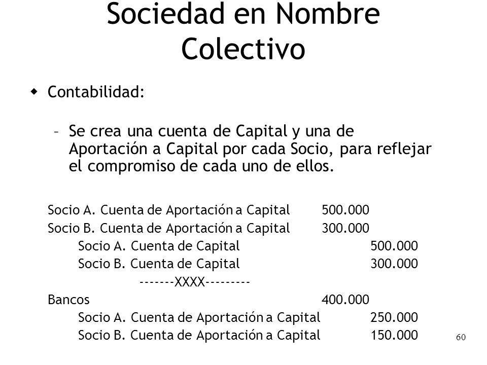 60 Sociedad en Nombre Colectivo Contabilidad: – Se crea una cuenta de Capital y una de Aportación a Capital por cada Socio, para reflejar el compromis