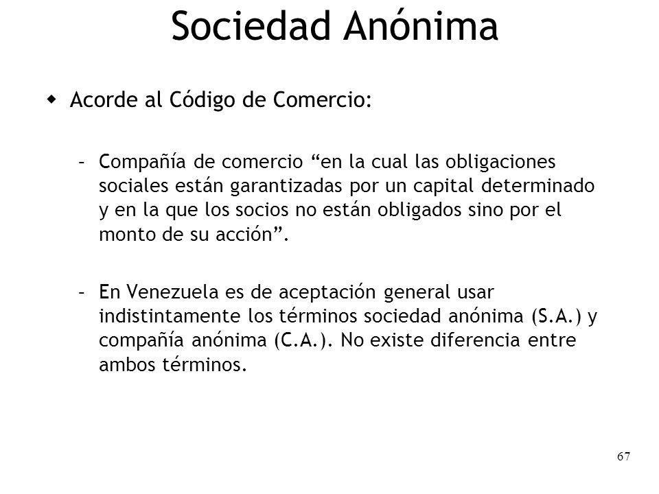 67 Sociedad Anónima Acorde al Código de Comercio: – Compañía de comercio en la cual las obligaciones sociales están garantizadas por un capital determ