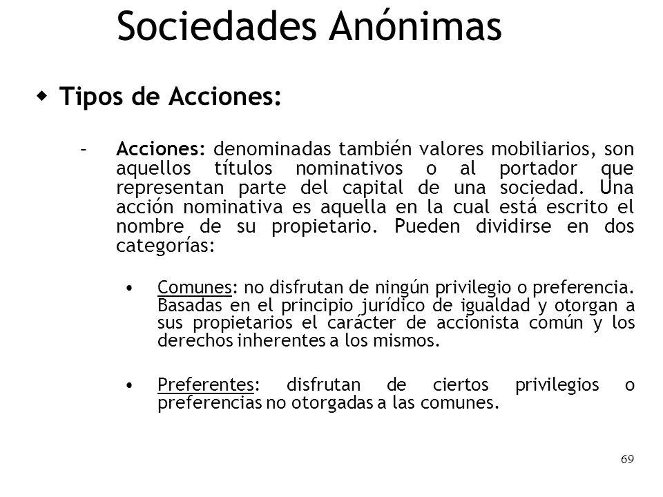 69 Sociedades Anónimas Tipos de Acciones: – Acciones: denominadas también valores mobiliarios, son aquellos títulos nominativos o al portador que repr