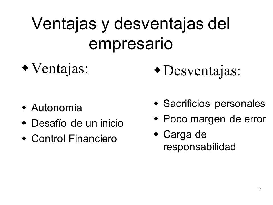 7 Ventajas y desventajas del empresario Ventajas: Autonomía Desafío de un inicio Control Financiero Desventajas: Sacrificios personales Poco margen de