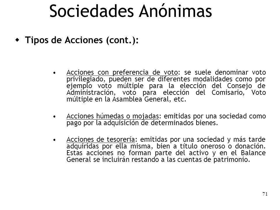 71 Sociedades Anónimas Tipos de Acciones (cont.): Acciones con preferencia de voto: se suele denominar voto privilegiado, pueden ser de diferentes mod
