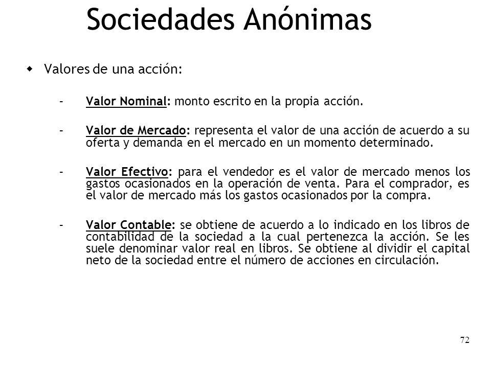 72 Sociedades Anónimas Valores de una acción: – Valor Nominal: monto escrito en la propia acción. – Valor de Mercado: representa el valor de una acció