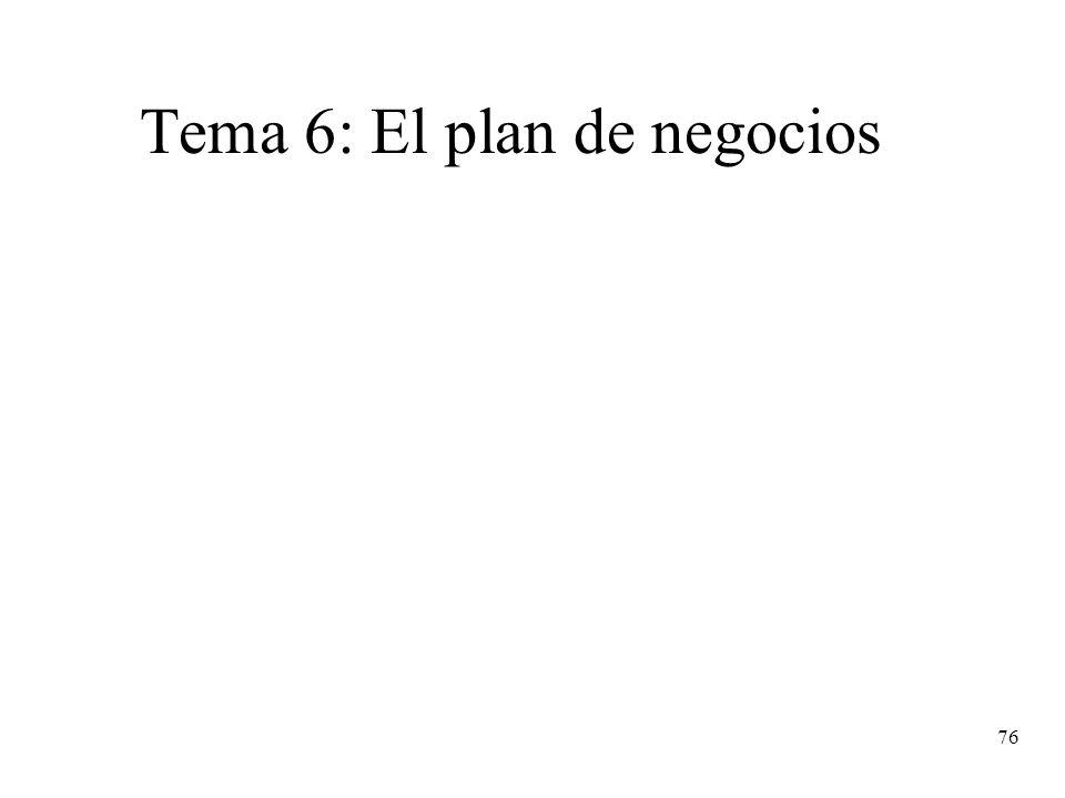 76 Tema 6: El plan de negocios