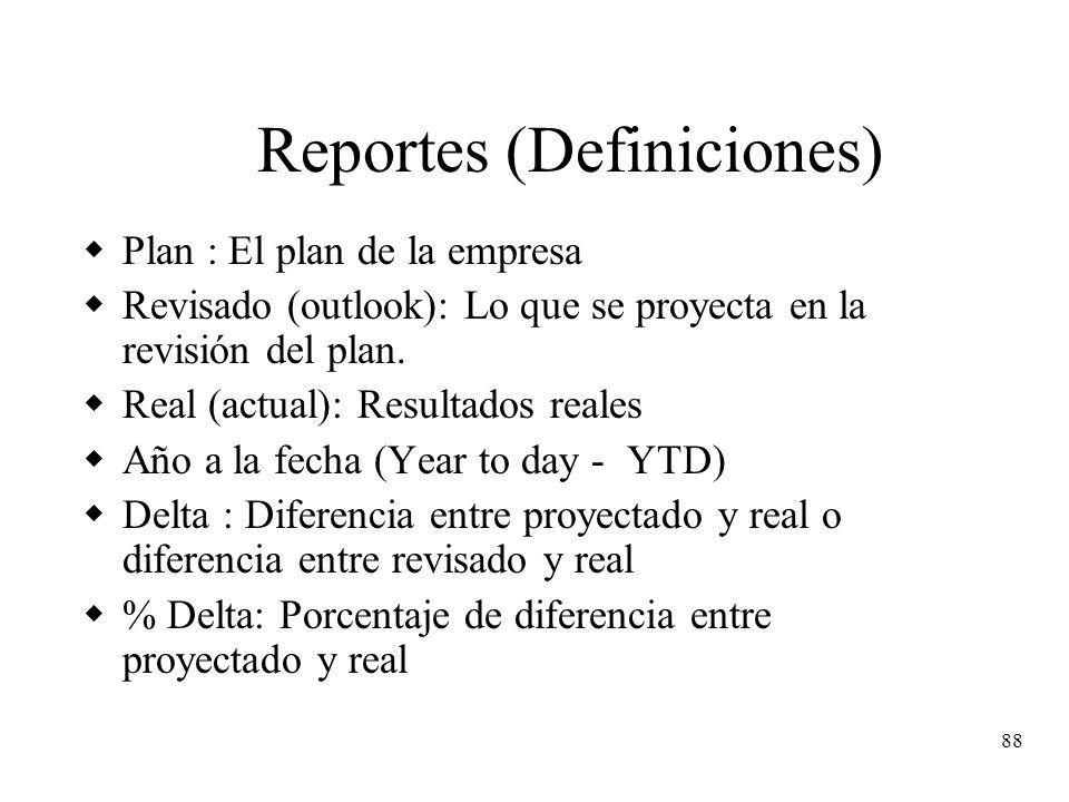 88 Reportes (Definiciones) Plan : El plan de la empresa Revisado (outlook): Lo que se proyecta en la revisión del plan. Real (actual): Resultados real