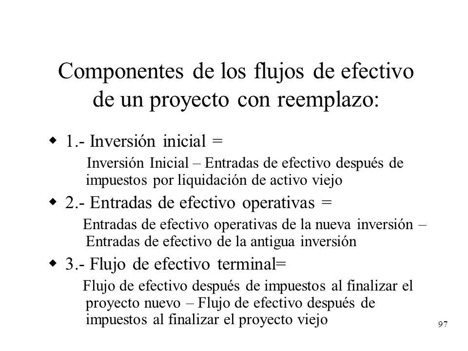97 Componentes de los flujos de efectivo de un proyecto con reemplazo: 1.- Inversión inicial = Inversión Inicial – Entradas de efectivo después de imp