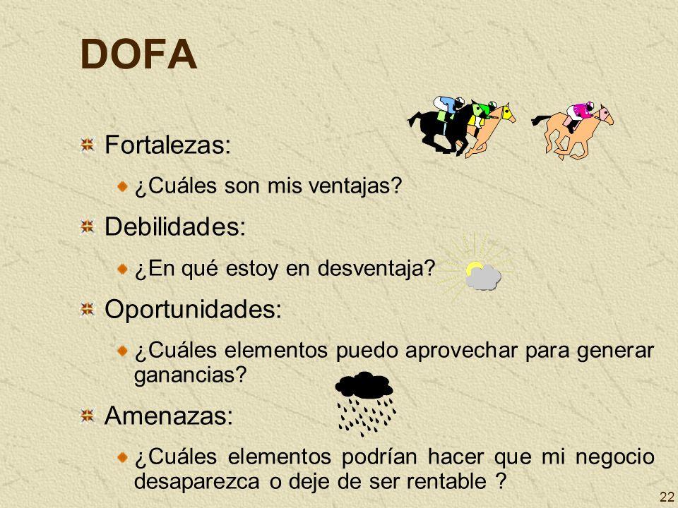 22 DOFA Fortalezas: ¿Cuáles son mis ventajas? Debilidades: ¿En qué estoy en desventaja? Oportunidades: ¿Cuáles elementos puedo aprovechar para generar