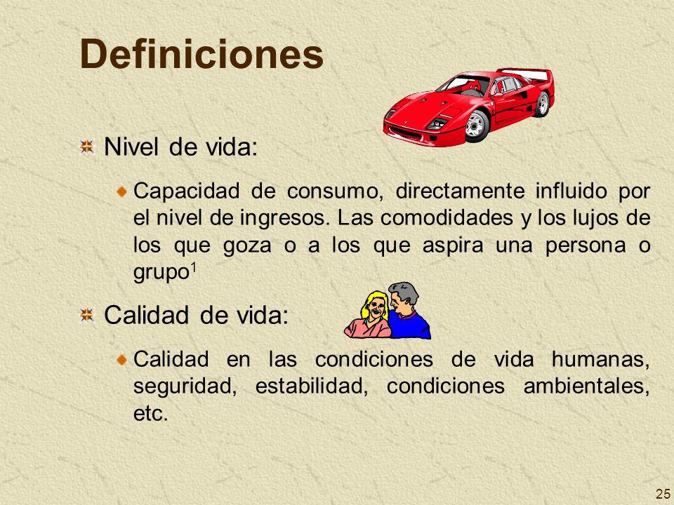 25 Definiciones Nivel de vida: Capacidad de consumo, directamente influido por el nivel de ingresos. Las comodidades y los lujos de los que goza o a l