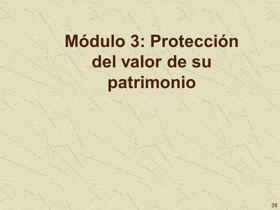 36 Módulo 3: Protección del valor de su patrimonio