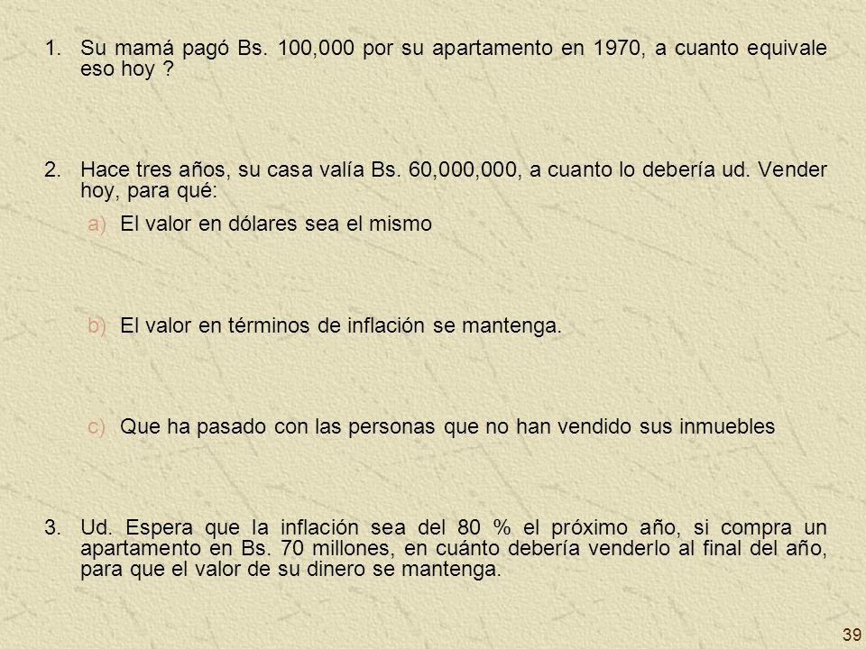 39 1.Su mamá pagó Bs. 100,000 por su apartamento en 1970, a cuanto equivale eso hoy ? 2.Hace tres años, su casa valía Bs. 60,000,000, a cuanto lo debe