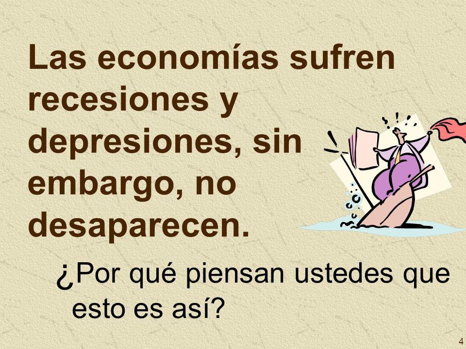 4 Las economías sufren recesiones y depresiones, sin embargo, no desaparecen. ¿ Por qué piensan ustedes que esto es así?