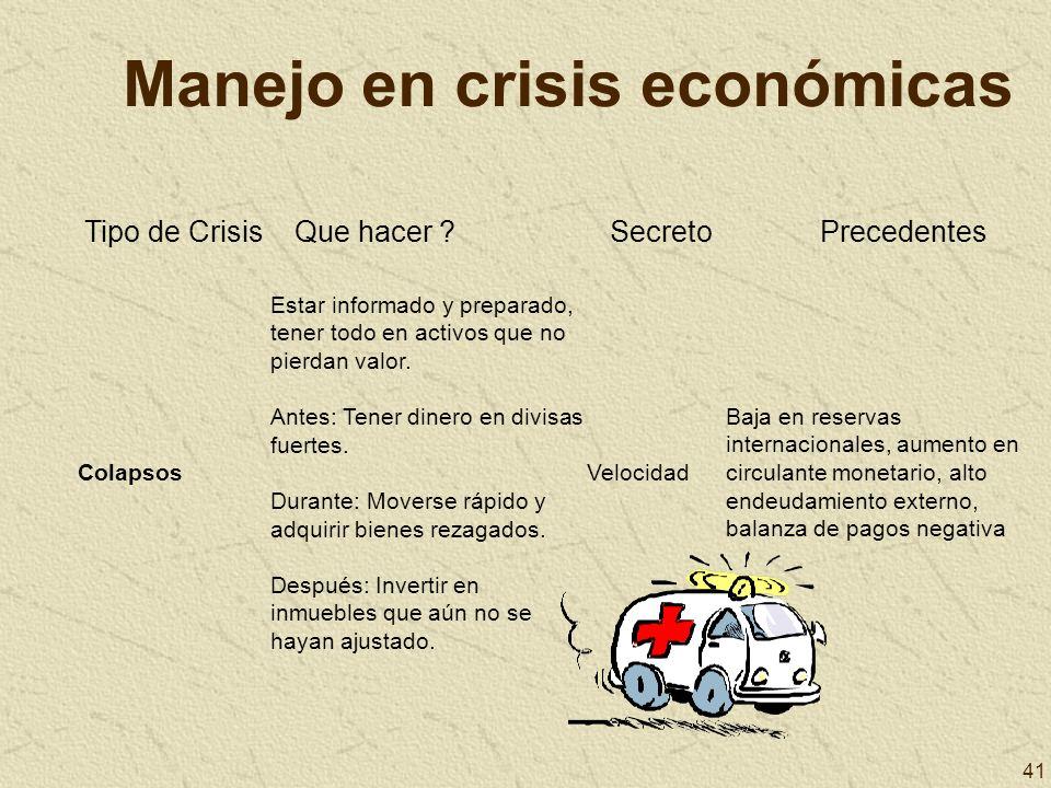 41 Manejo en crisis económicas Tipo de CrisisQue hacer ?SecretoPrecedentes Colapsos Estar informado y preparado, tener todo en activos que no pierdan