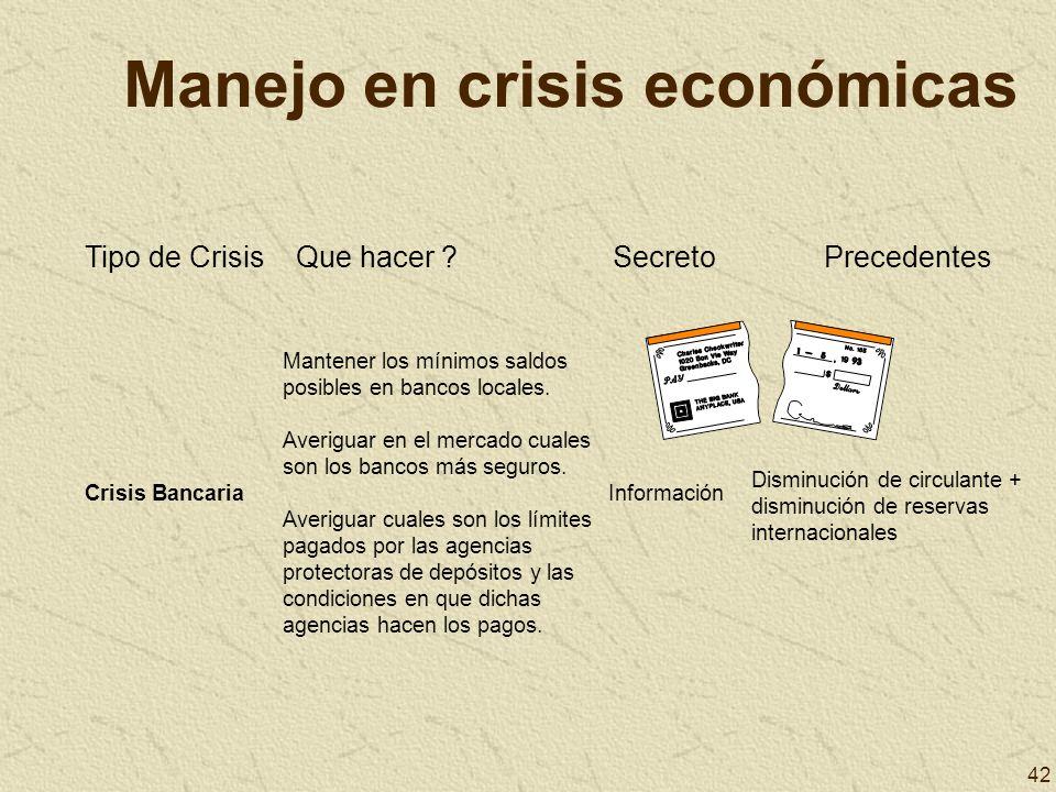 42 Manejo en crisis económicas Tipo de CrisisQue hacer ?SecretoPrecedentes Crisis Bancaria Mantener los mínimos saldos posibles en bancos locales. Ave