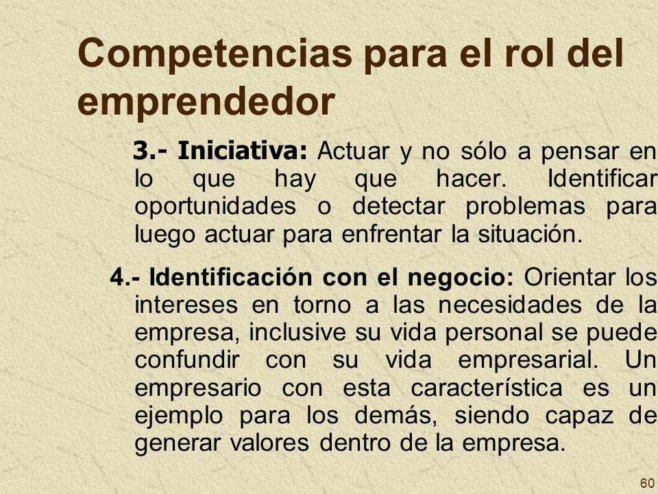 60 Competencias para el rol del emprendedor 3.- Iniciativa: A ctuar y no sólo a pensar en lo que hay que hacer. Identificar oportunidades o detectar p