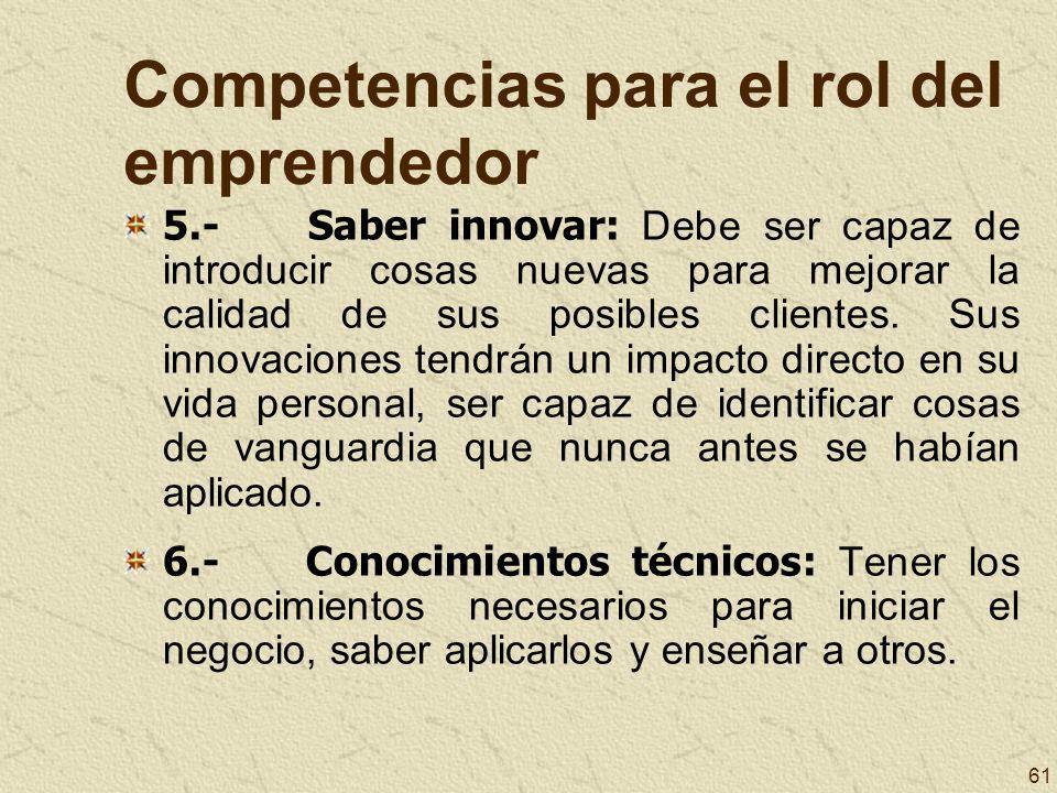 61 Competencias para el rol del emprendedor 5.- Saber innovar: Debe ser capaz de introducir cosas nuevas para mejorar la calidad de sus posibles clien