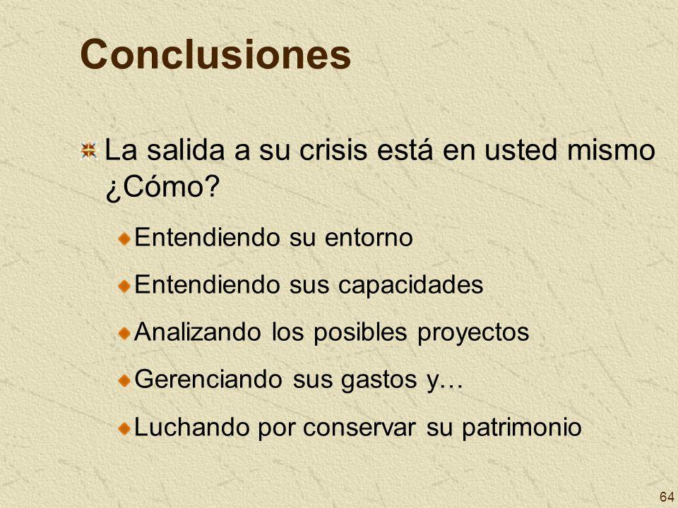 64 Conclusiones La salida a su crisis está en usted mismo ¿Cómo? Entendiendo su entorno Entendiendo sus capacidades Analizando los posibles proyectos