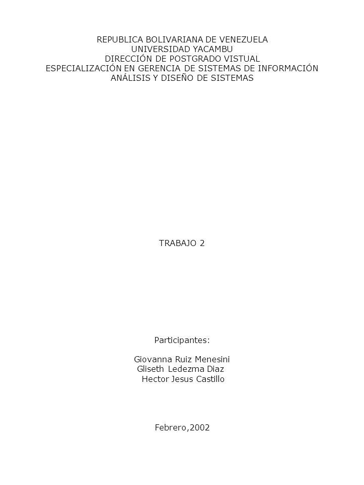 REPUBLICA BOLIVARIANA DE VENEZUELA UNIVERSIDAD YACAMBU DIRECCIÓN DE POSTGRADO VISTUAL ESPECIALIZACIÓN EN GERENCIA DE SISTEMAS DE INFORMACIÓN ANÁLISIS
