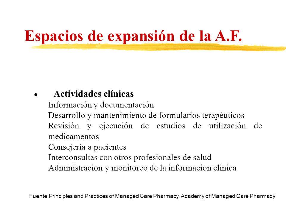 Actividades clínicas Información y documentación Desarrollo y mantenimiento de formularios terapéuticos Revisión y ejecución de estudios de utilizació