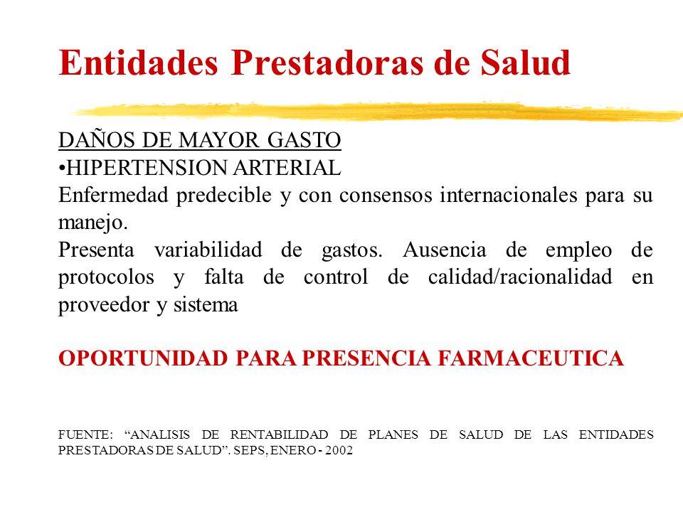 Entidades Prestadoras de Salud DAÑOS DE MAYOR GASTO HIPERTENSION ARTERIAL Enfermedad predecible y con consensos internacionales para su manejo. Presen