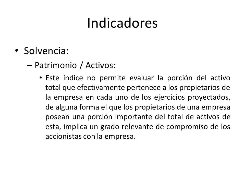 Indicadores Solvencia: – Patrimonio / Activos: Este índice no permite evaluar la porción del activo total que efectivamente pertenece a los propietari