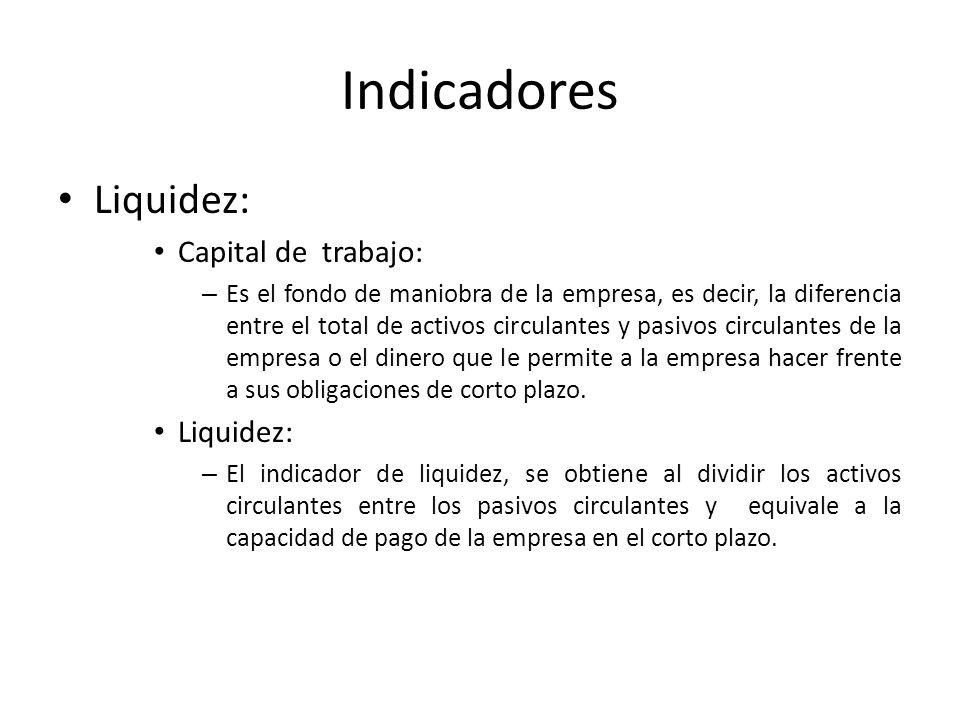 Indicadores Liquidez: Capital de trabajo: – Es el fondo de maniobra de la empresa, es decir, la diferencia entre el total de activos circulantes y pas