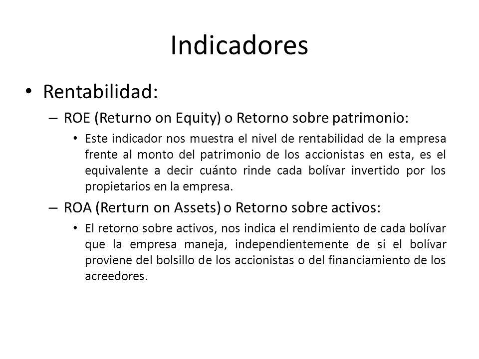 Indicadores Rentabilidad: – ROE (Returno on Equity) o Retorno sobre patrimonio: Este indicador nos muestra el nivel de rentabilidad de la empresa fren
