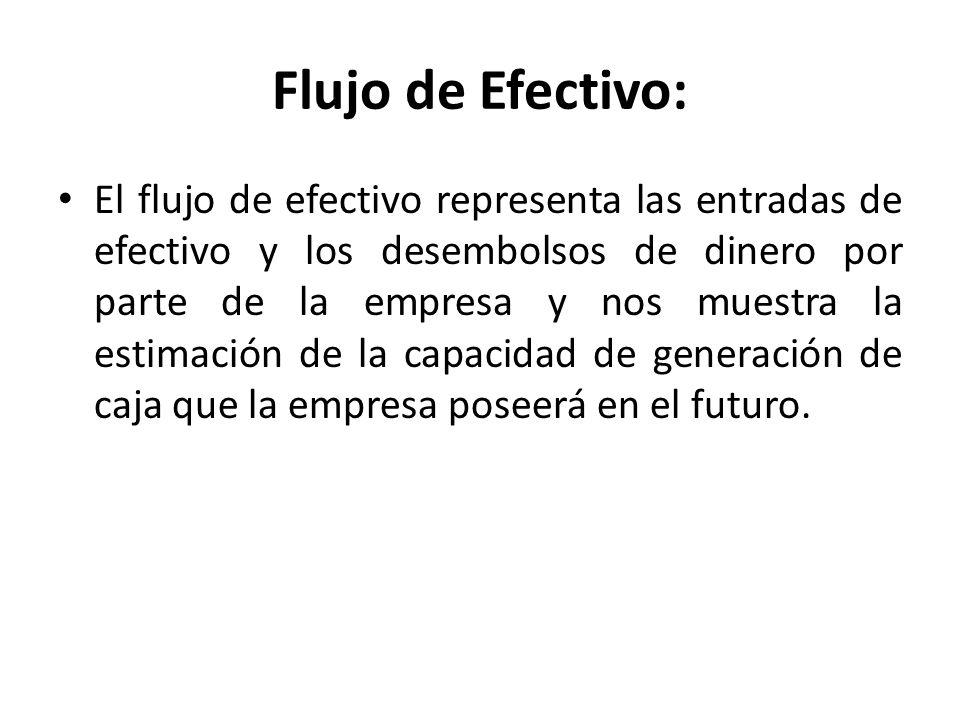 Flujo de Efectivo: El flujo de efectivo representa las entradas de efectivo y los desembolsos de dinero por parte de la empresa y nos muestra la estim