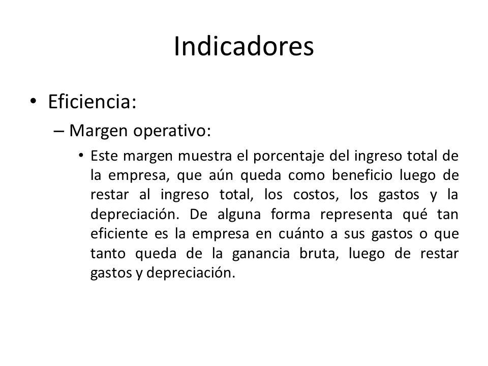 Indicadores Eficiencia: – Margen operativo: Este margen muestra el porcentaje del ingreso total de la empresa, que aún queda como beneficio luego de r