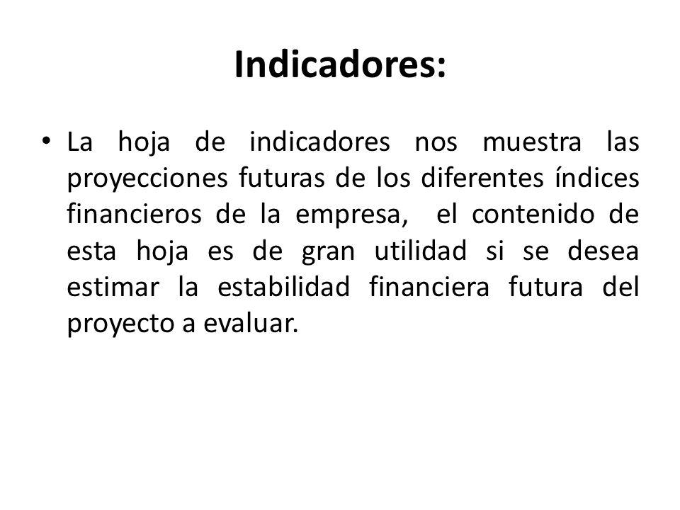 Indicadores: La hoja de indicadores nos muestra las proyecciones futuras de los diferentes índices financieros de la empresa, el contenido de esta hoj