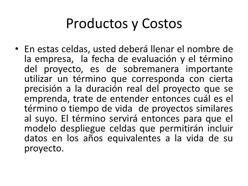 Productos y Costos En estas celdas, usted deberá llenar el nombre de la empresa, la fecha de evaluación y el término del proyecto, es de sobremanera i