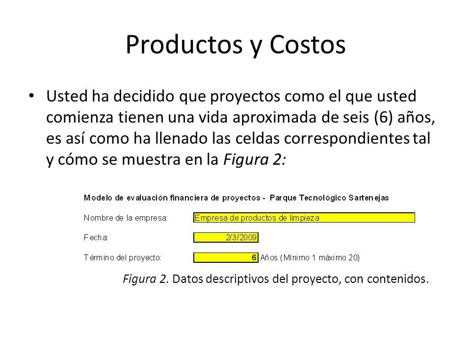 Productos y Costos Usted ha decidido que proyectos como el que usted comienza tienen una vida aproximada de seis (6) años, es así como ha llenado las