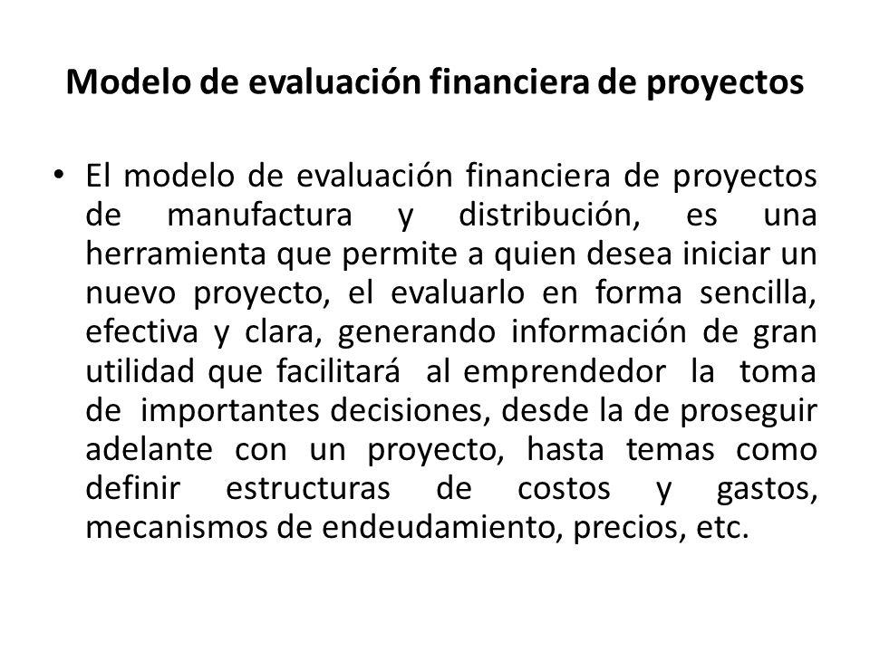 El modelo de evaluación financiera de proyectos de manufactura y distribución, es una herramienta que permite a quien desea iniciar un nuevo proyecto,