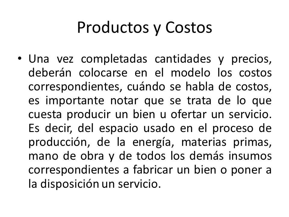 Productos y Costos Una vez completadas cantidades y precios, deberán colocarse en el modelo los costos correspondientes, cuándo se habla de costos, es