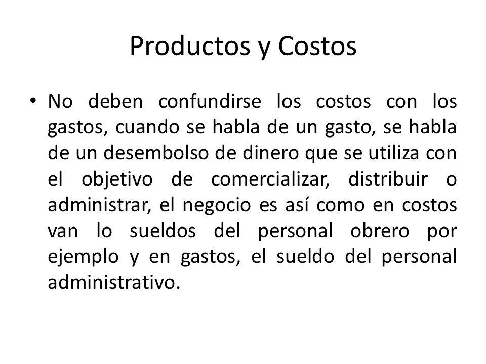 Productos y Costos No deben confundirse los costos con los gastos, cuando se habla de un gasto, se habla de un desembolso de dinero que se utiliza con
