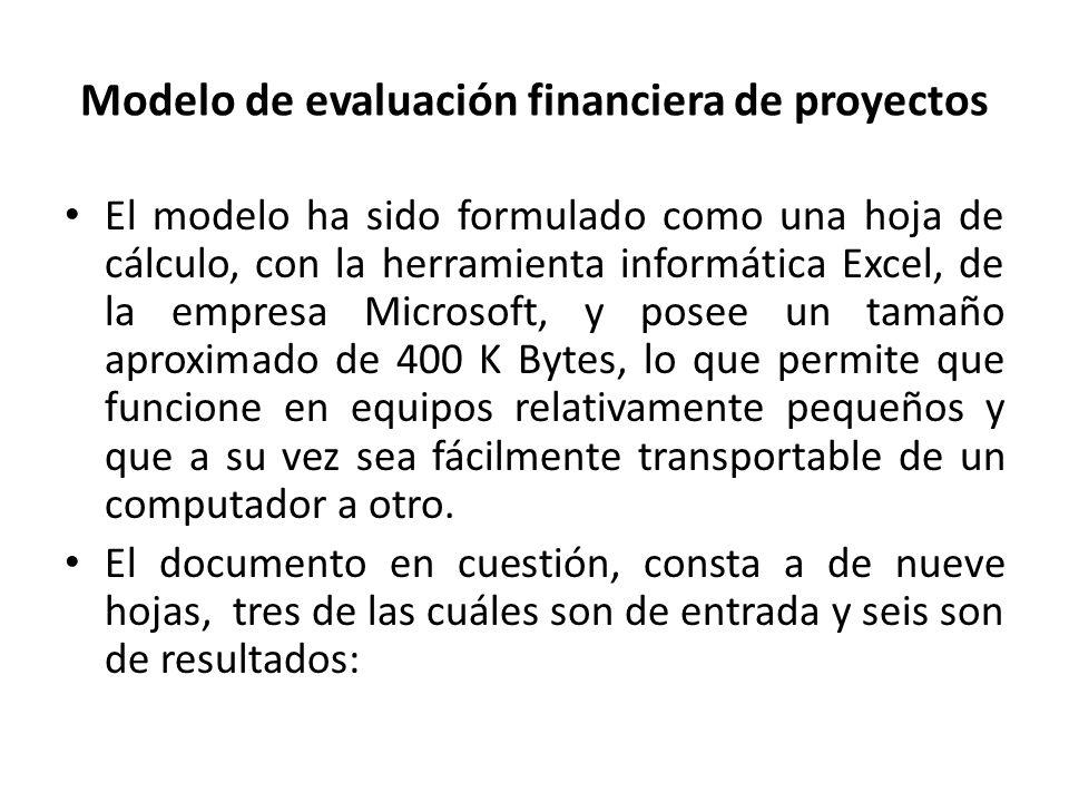 Modelo de evaluación financiera de proyectos El modelo ha sido formulado como una hoja de cálculo, con la herramienta informática Excel, de la empresa