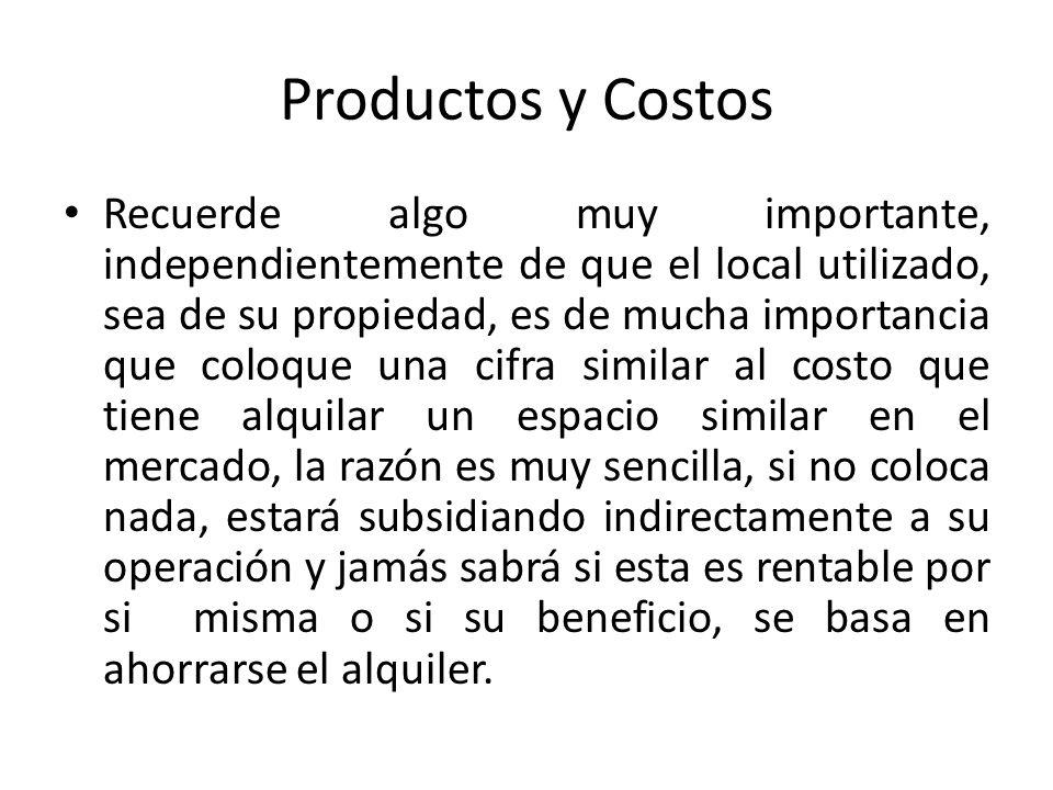 Productos y Costos Recuerde algo muy importante, independientemente de que el local utilizado, sea de su propiedad, es de mucha importancia que coloqu