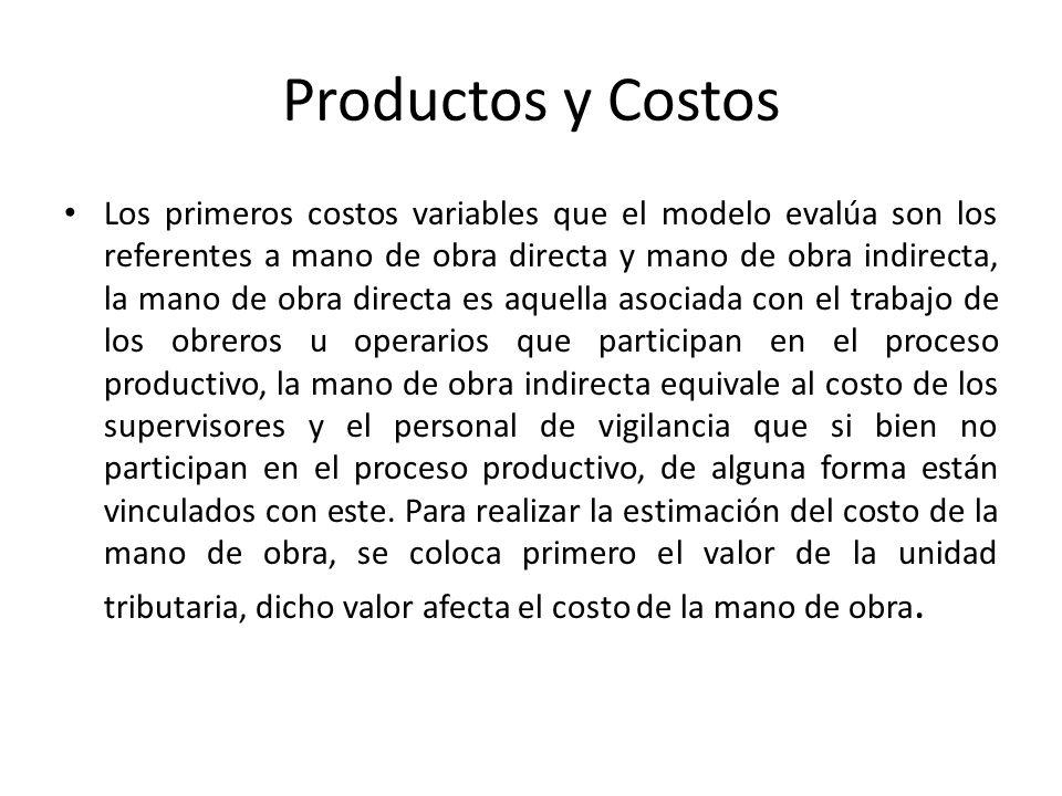 Productos y Costos Los primeros costos variables que el modelo evalúa son los referentes a mano de obra directa y mano de obra indirecta, la mano de o