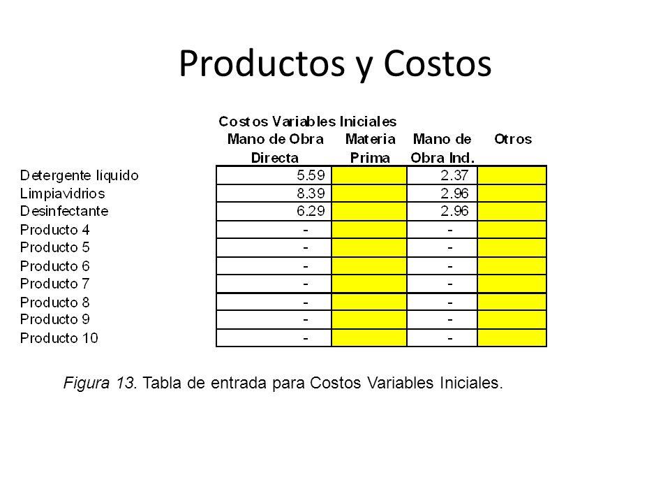 Productos y Costos Figura 13. Tabla de entrada para Costos Variables Iniciales.