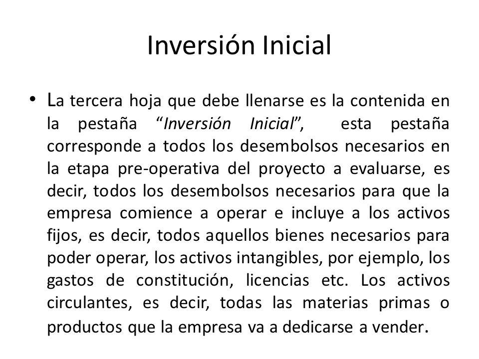 Inversión Inicial L a tercera hoja que debe llenarse es la contenida en la pestaña Inversión Inicial, esta pestaña corresponde a todos los desembolsos