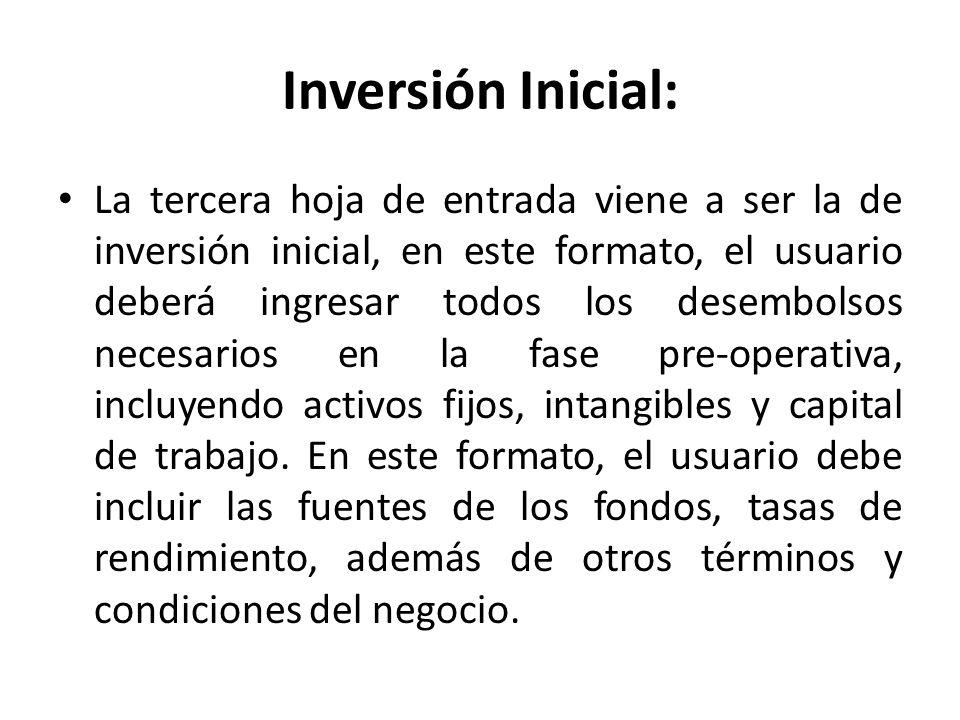 Inversión Inicial: La tercera hoja de entrada viene a ser la de inversión inicial, en este formato, el usuario deberá ingresar todos los desembolsos n
