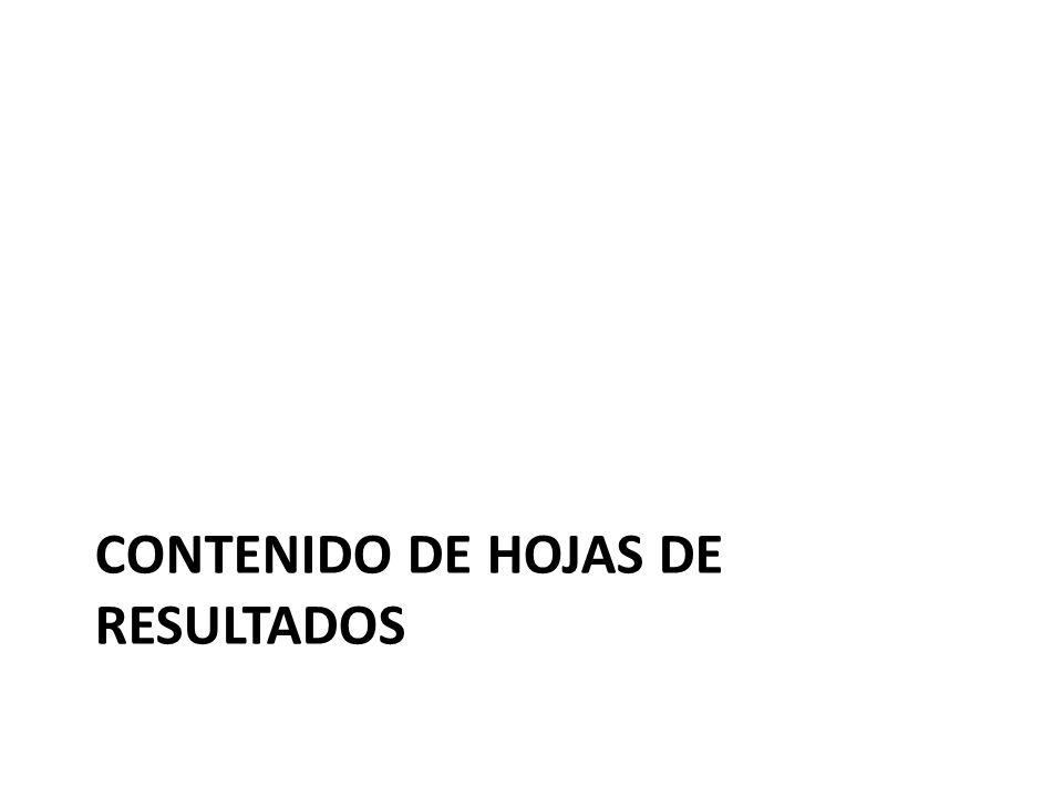 CONTENIDO DE HOJAS DE RESULTADOS