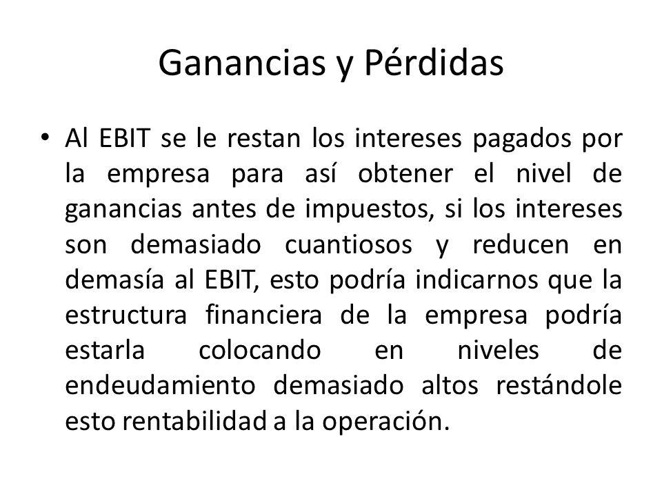 Ganancias y Pérdidas Al EBIT se le restan los intereses pagados por la empresa para así obtener el nivel de ganancias antes de impuestos, si los inter