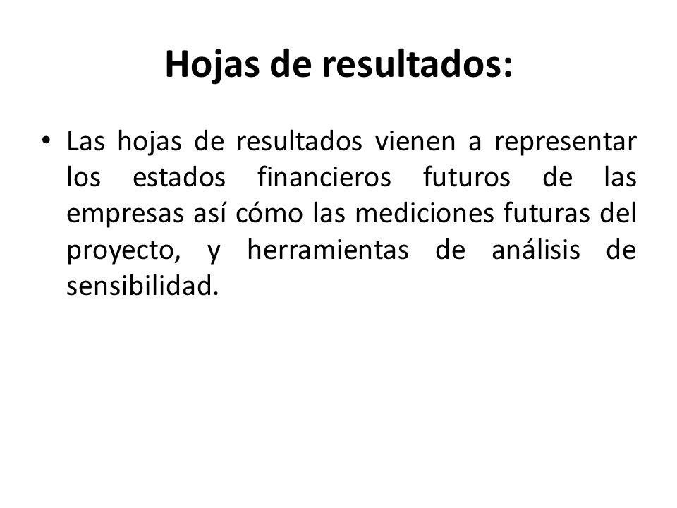 Hojas de resultados: Las hojas de resultados vienen a representar los estados financieros futuros de las empresas así cómo las mediciones futuras del