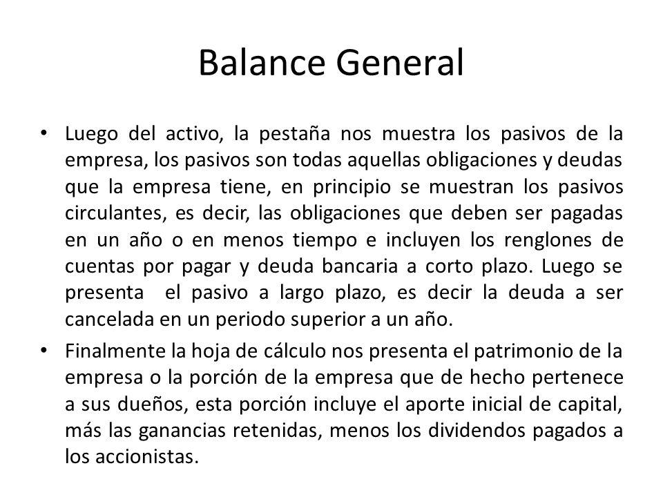 Balance General Luego del activo, la pestaña nos muestra los pasivos de la empresa, los pasivos son todas aquellas obligaciones y deudas que la empres