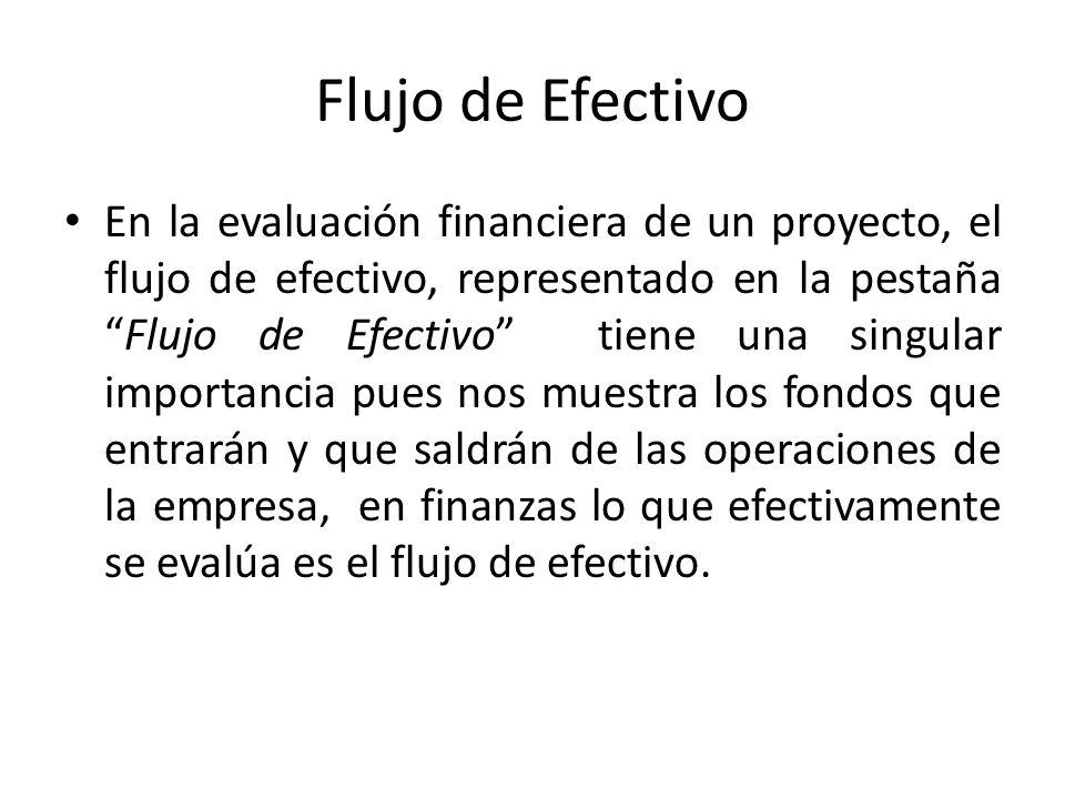 Flujo de Efectivo En la evaluación financiera de un proyecto, el flujo de efectivo, representado en la pestañaFlujo de Efectivo tiene una singular imp