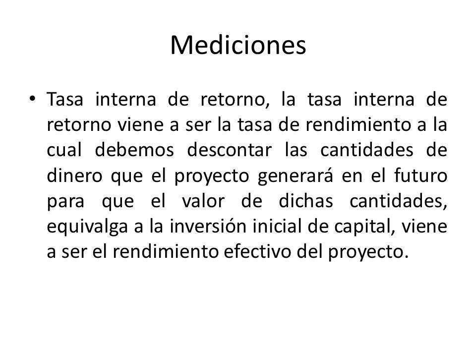 Mediciones Tasa interna de retorno, la tasa interna de retorno viene a ser la tasa de rendimiento a la cual debemos descontar las cantidades de dinero