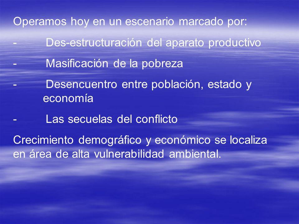 Operamos hoy en un escenario marcado por: - Des-estructuración del aparato productivo - Masificación de la pobreza - Desencuentro entre población, est