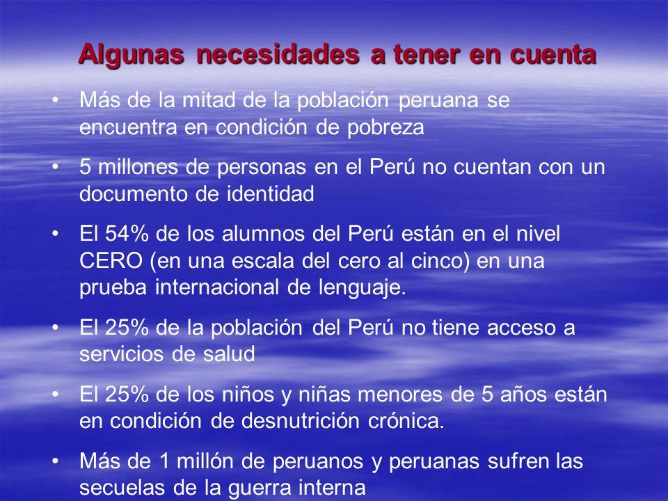 Algunas necesidades a tener en cuenta Más de la mitad de la población peruana se encuentra en condición de pobreza 5 millones de personas en el Perú n